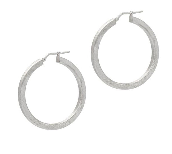 La SATINA SQUARED - The Hoop Station 925 Sterling Silver Hoop Earrings Gold Huggies