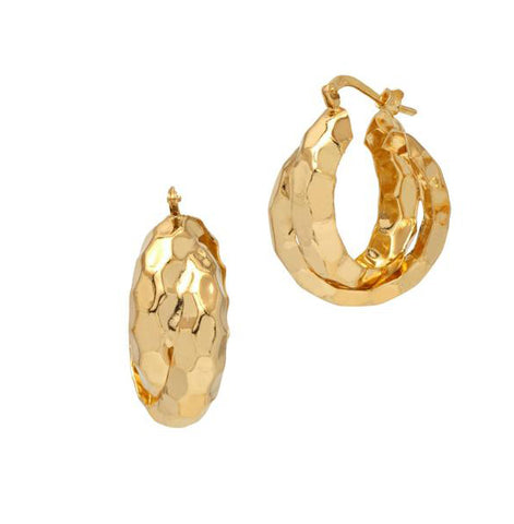 La VINTAGE TWISTS Gold - The Hoop Station 925 Sterling Silver Hoop Earrings Gold Huggies