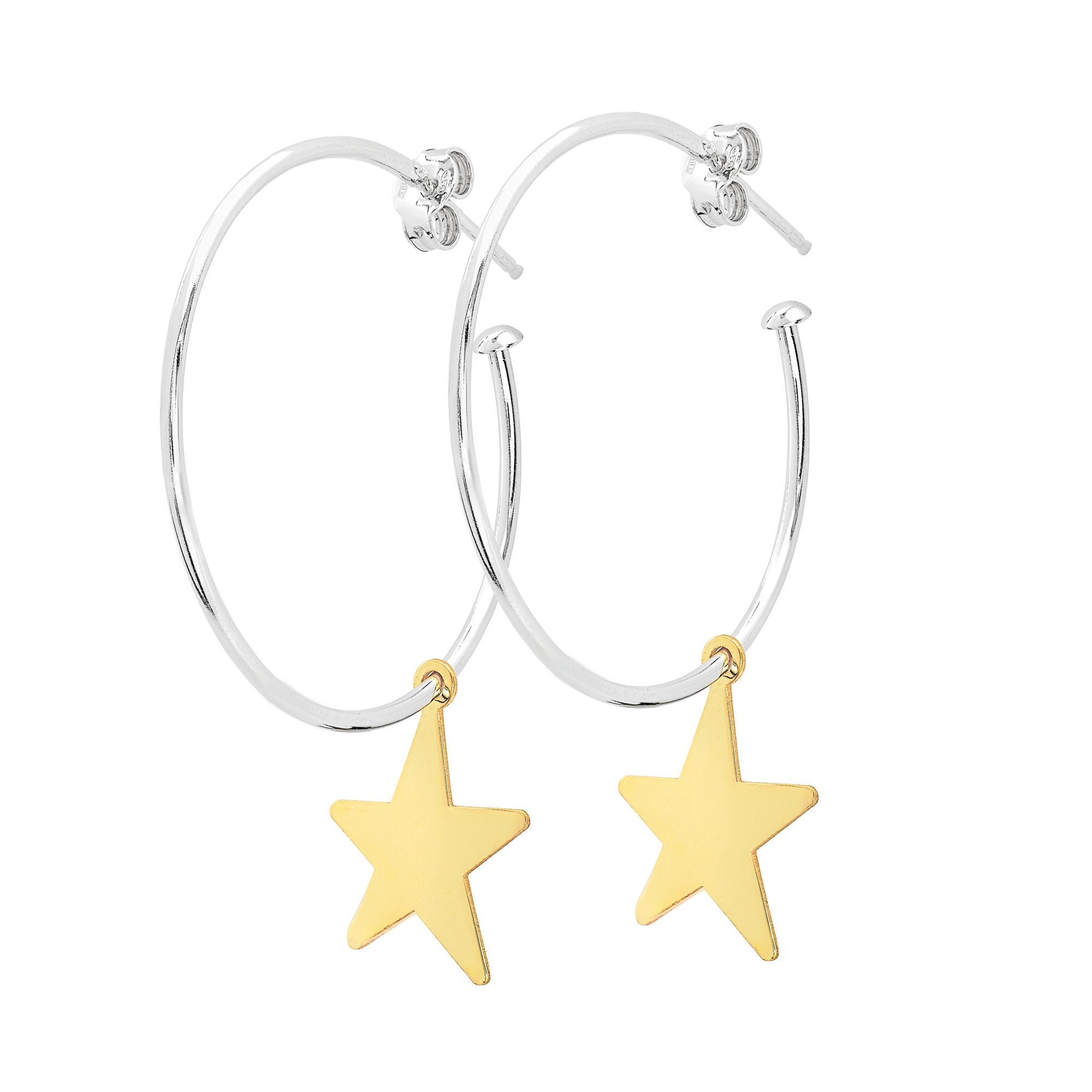 La STELLA CHARM - Gold Stars - The Hoop Station 925 Sterling Silver Hoop Earrings Gold Huggies