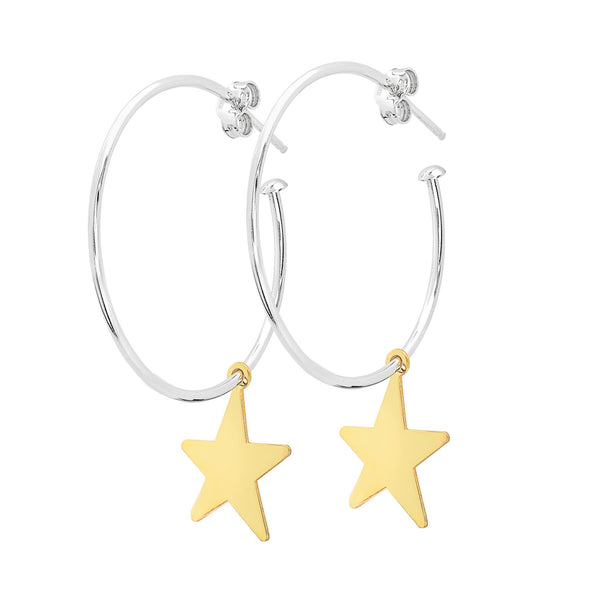 La STELLA Charm - Gold - The Hoop Station 925 Sterling Silver Hoop Earrings Gold Huggies