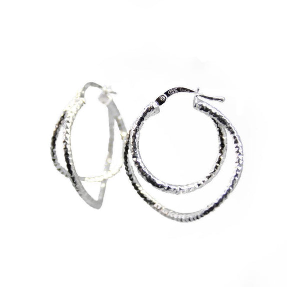 La DOPPIA CHISELLED WAVE - Silver - The Hoop Station 925 Sterling Silver Hoop Earrings Gold Huggies