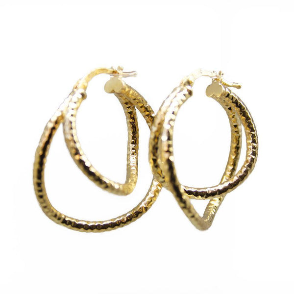 gold hoops, double, textured, chiselled, great hoops, affordable hoops, john lewis, fenwick
