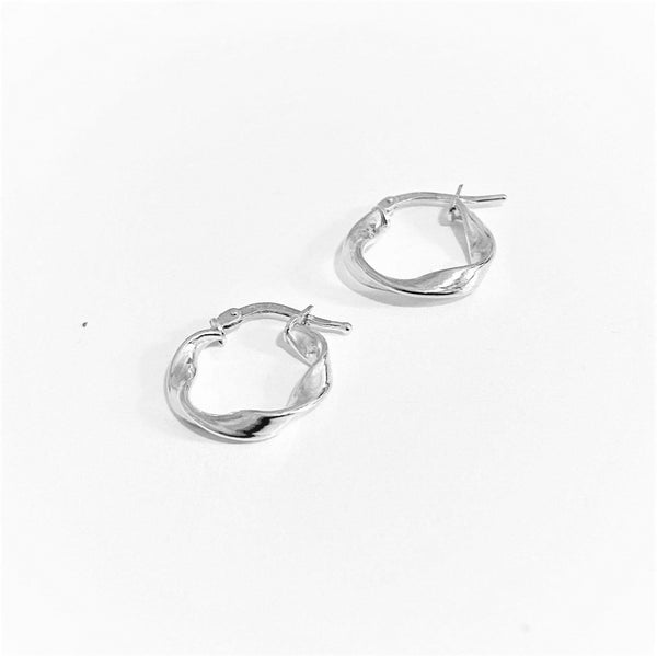 La RIBBON Huggies - Silver - The Hoop Station 925 Sterling Silver Hoop Earrings Gold Huggies