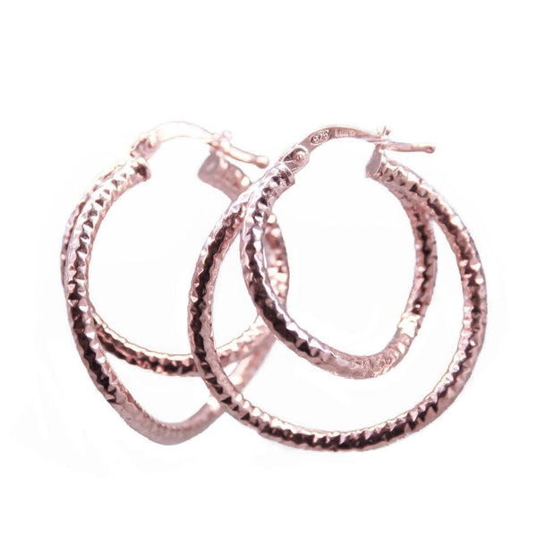 La DOPPIA CHISELLED WAVE Rose Gold Piccolo Hoops