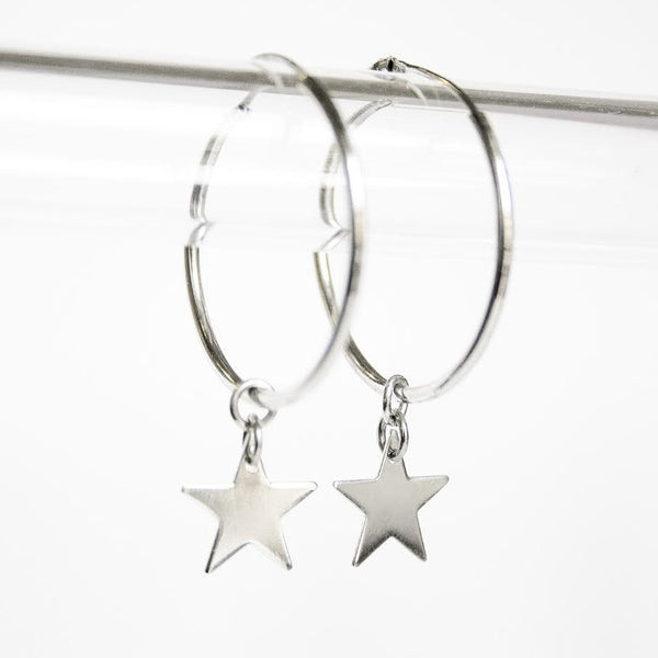 La STELLA Silver Piccolo Hoops - Detachable stars