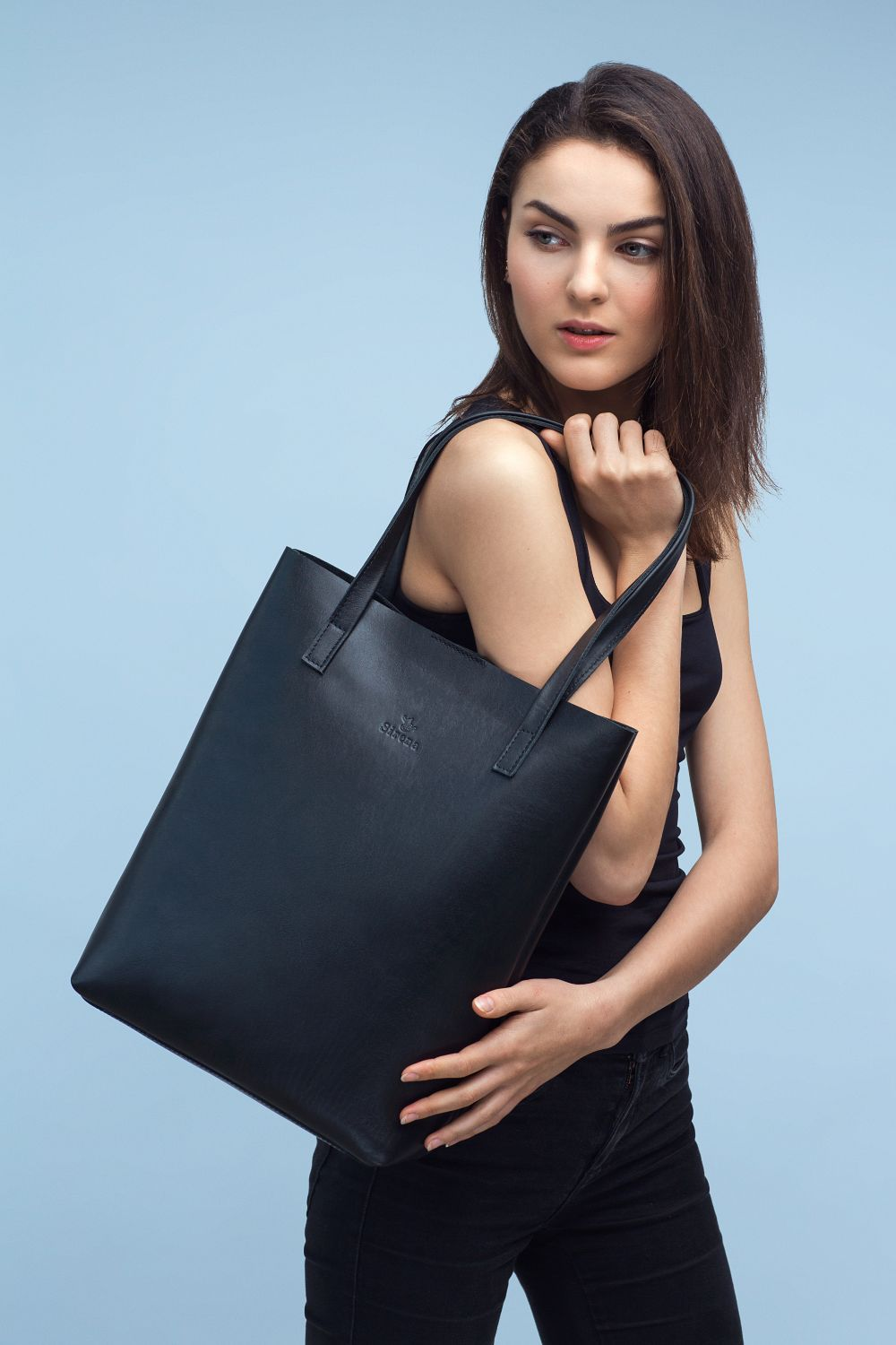 Black Leather Tote Bag | UDRAA