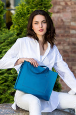 Load image into Gallery viewer, Blue Leather Bag Gabi