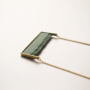 Hand made square ceramic necklace