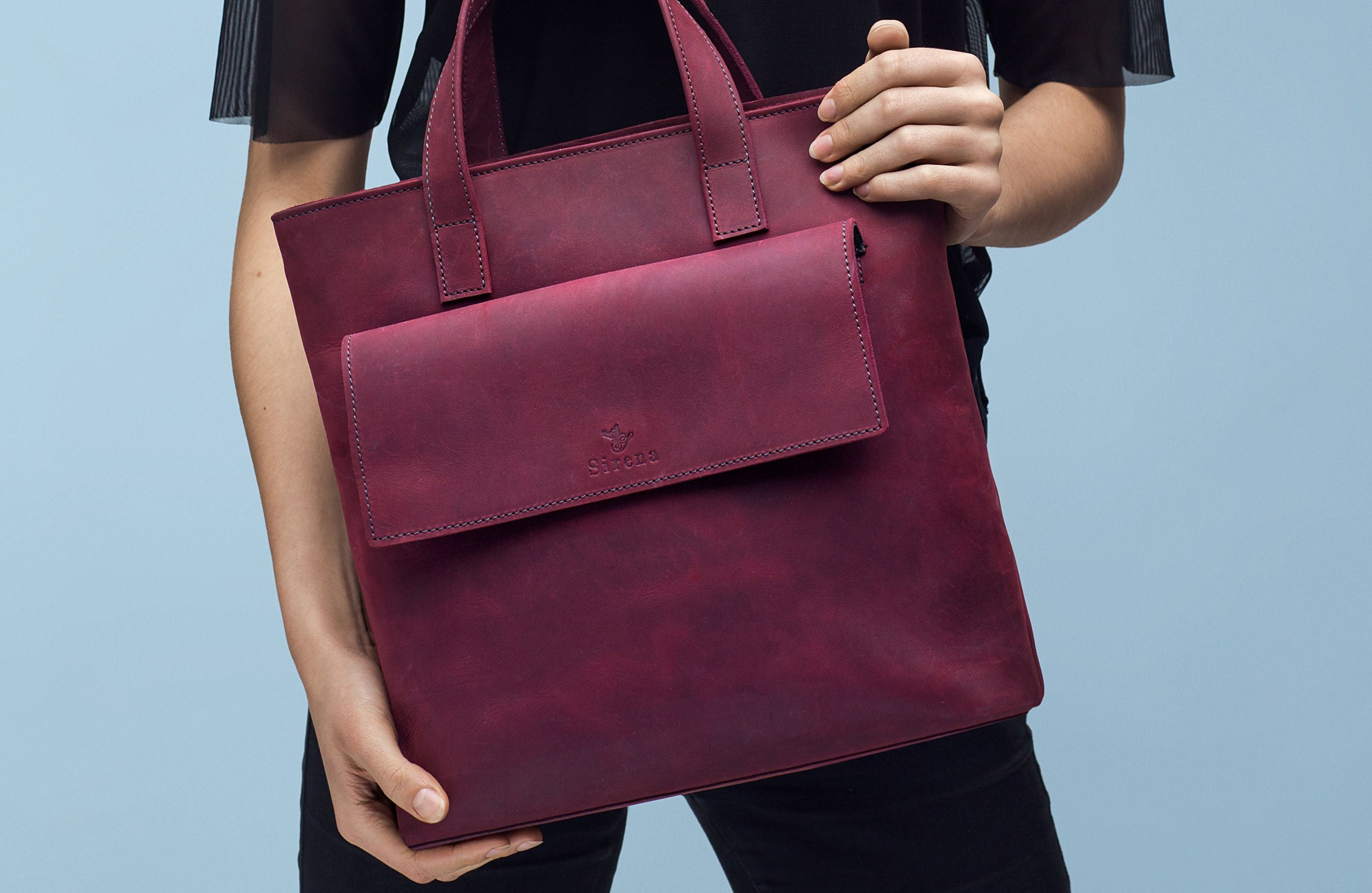 Cherry Colour Leather Bag | UDRAA