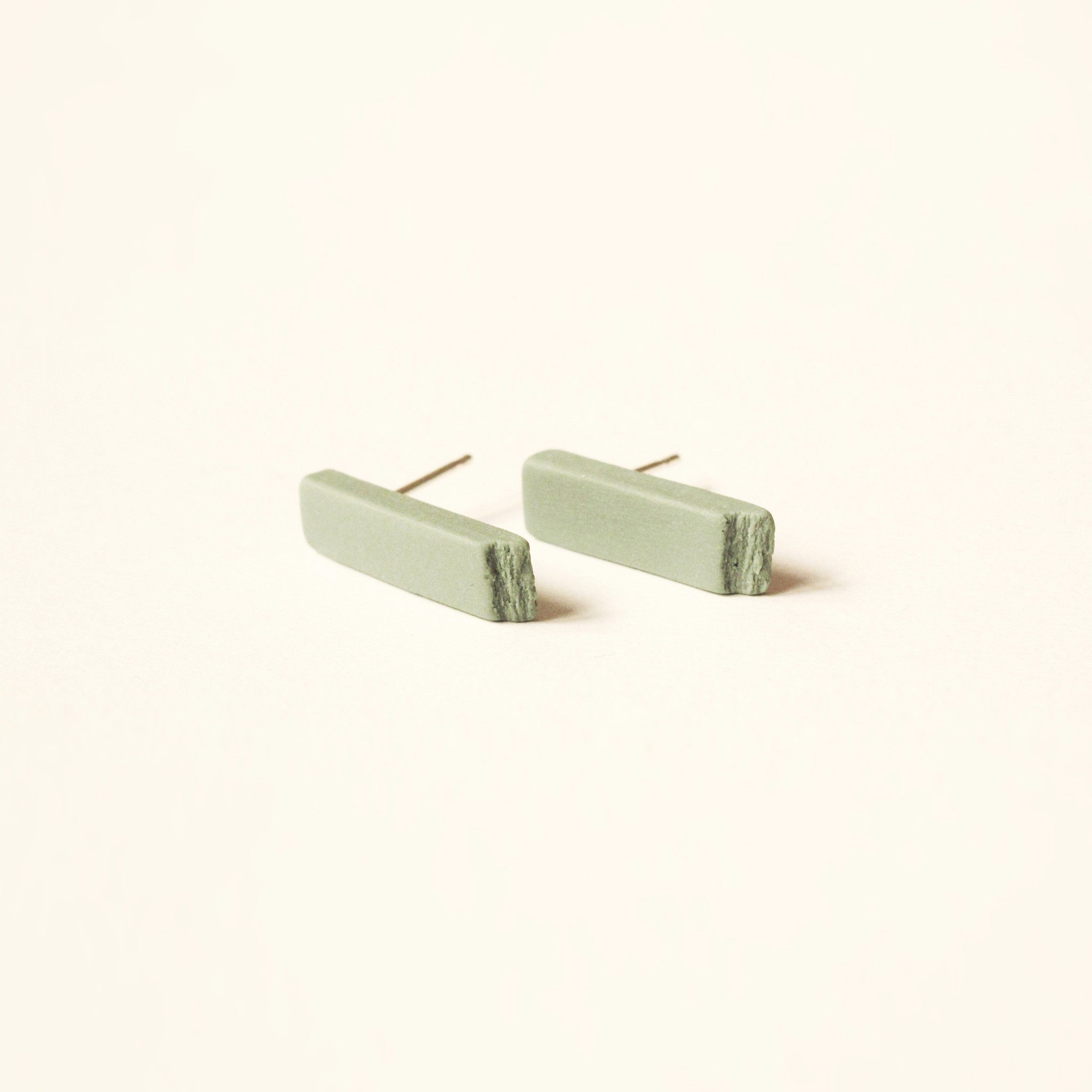 Ceramic Earrings, Sticks - Green