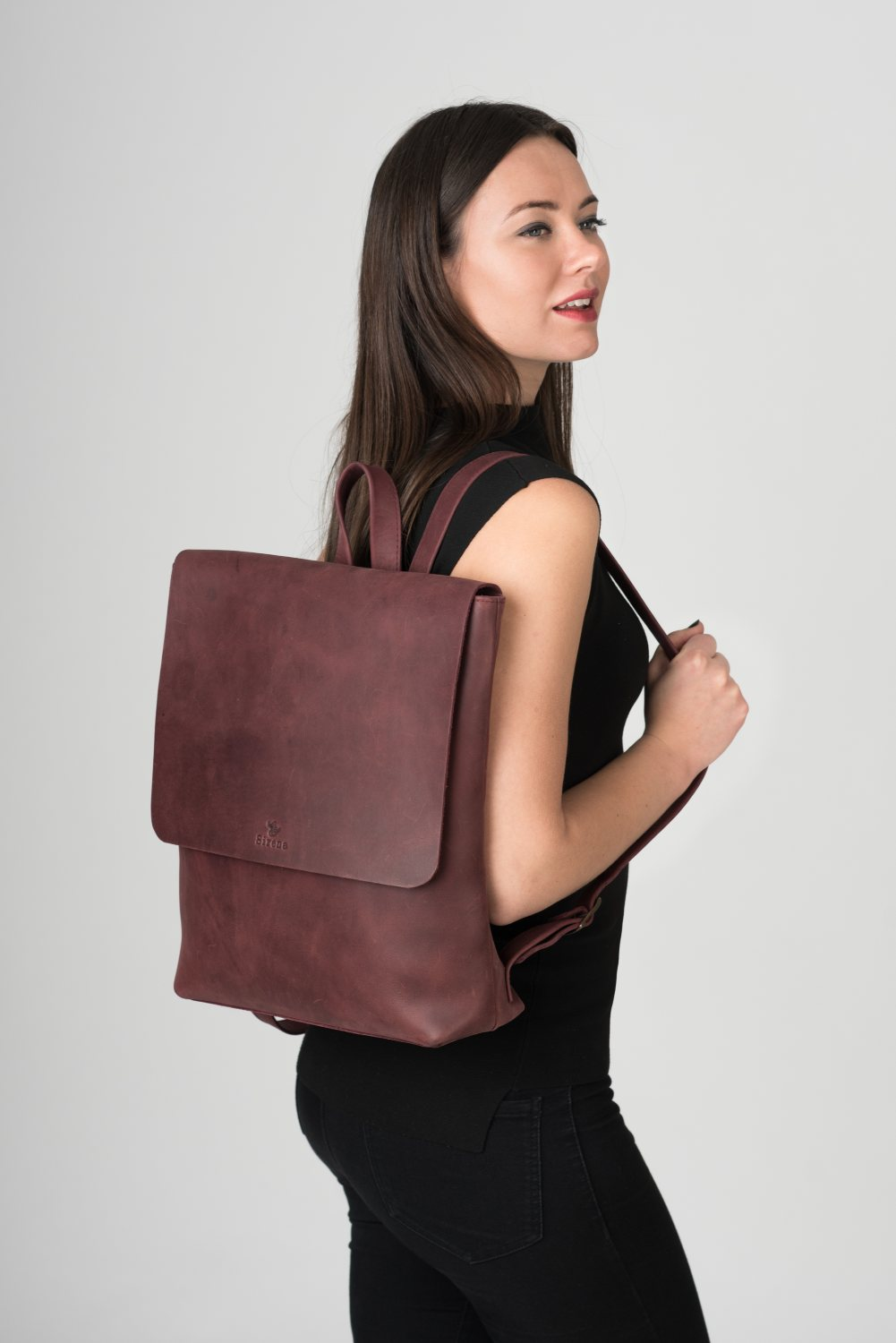Large Handmade Leather Backpack in Brown or Black - Geneva