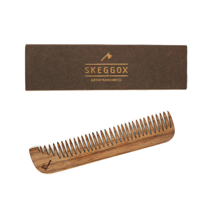 Wooden comb for beard and moustache. Skeggox.
