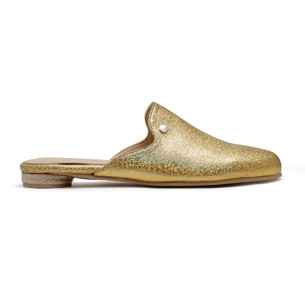Cinderella Gold - leather mule slide