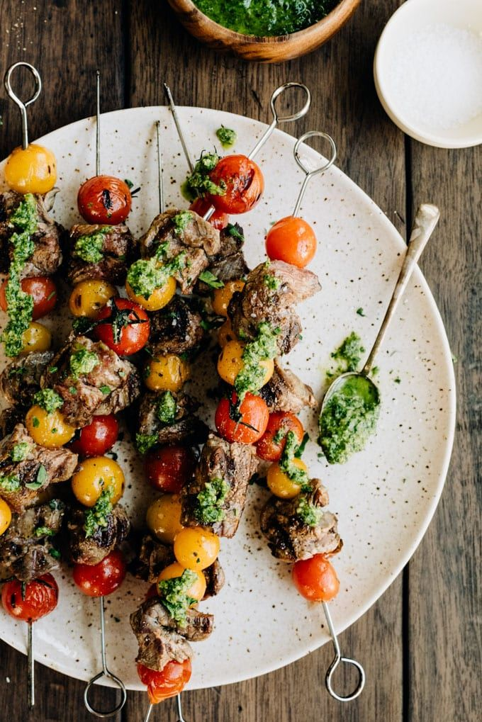 Beef Skirt Steak Skewers with Tomatoes and Parsley Pesto