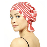 Caroline Chemo Beanie - Red Abstract Prink Knit