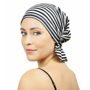 Jillian Chemo Beanie - Heather Grey/Black Stripe Knit