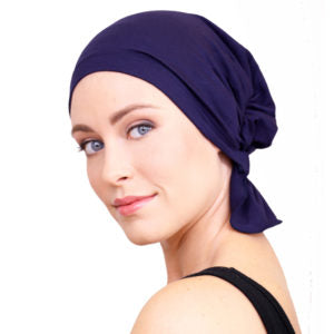 Kim Chemo Beanie - Navy Blue Bamboo Cotton Jersey