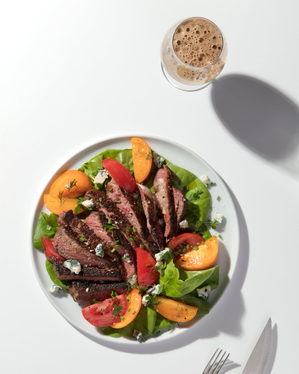 Grilled Rib-Eye with Heirloom Tomato and Little Gem Salad