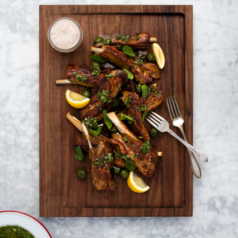 Crispy Lamb Ribs with Harissa Yogurt and Mint Salsa Verde