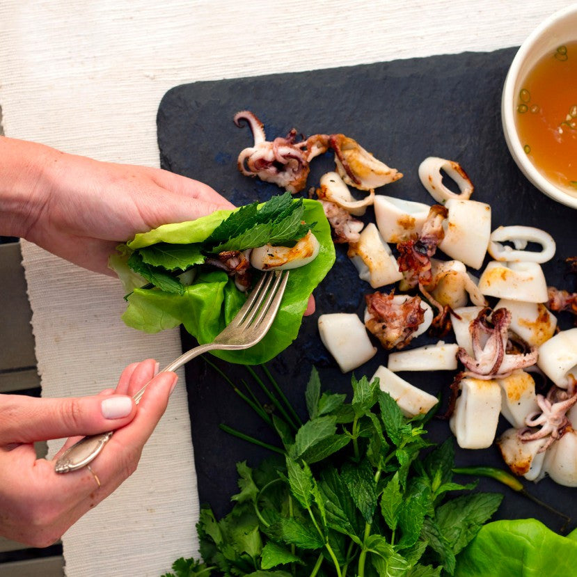 Grilled Squid Lettuce Wraps with Nuoc Cham