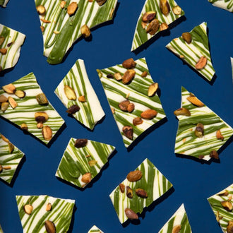 Matcha and White Chocolate Bark with Pistachios