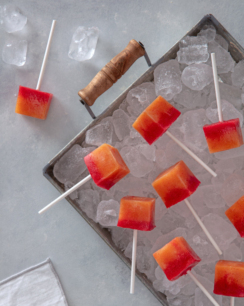 Peach Raspberry Ice Pops