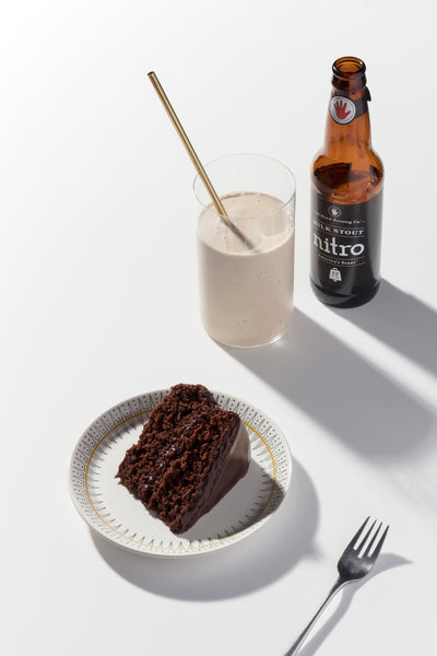 chocolate cake and stout milkshakes