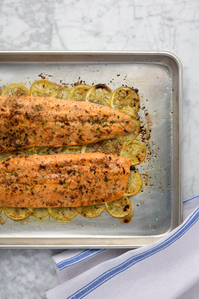 roasted artic char with lemons