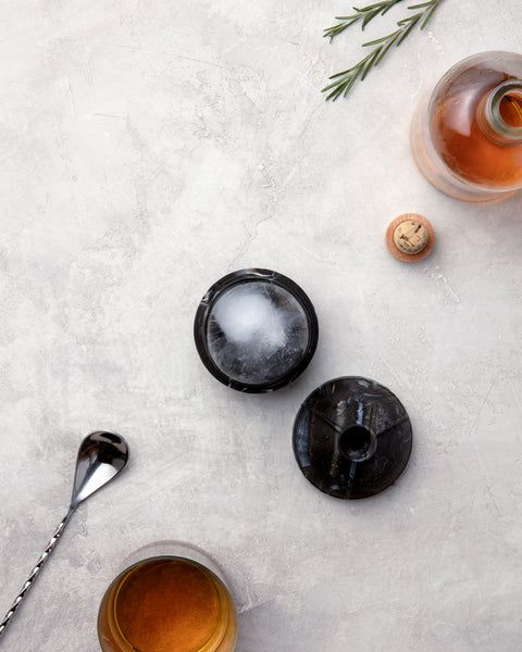 black single sphere marble ice cube