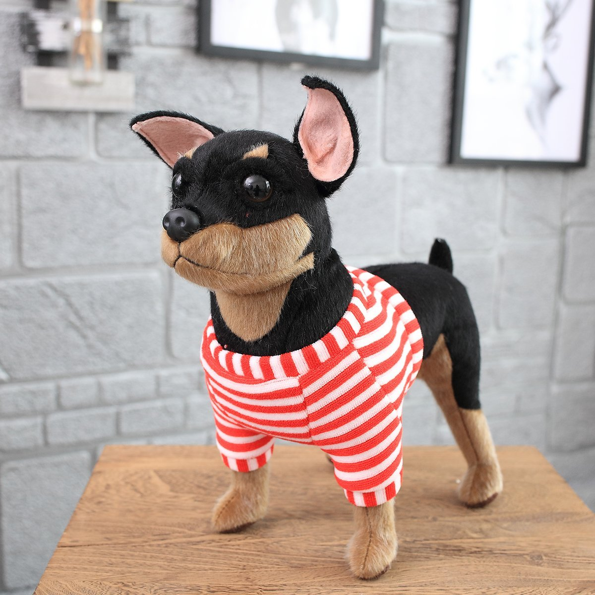 Realistic Cute Stuffed Dog Toy Plush Puppy Animal Pillow Gift for Kids Manchester United Dog