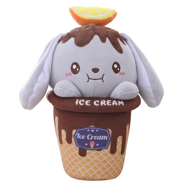 Stuffed Ice Cream Shaped Rabbit Toy Cute Plush Animal Soft Pillow