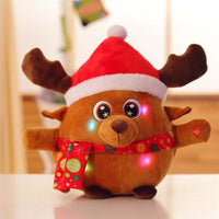 Cute Elk Plush Toy Stuffed Singing and Light up Christmas Elk Doll