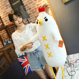 Dumb Chicken Plush Toys White Soft Stuffed Chicken Cock Doll Pillow