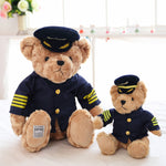 Cute Pilot Teddy Bear Plush Toy Stuffed Captain Bear Doll Baby Gift