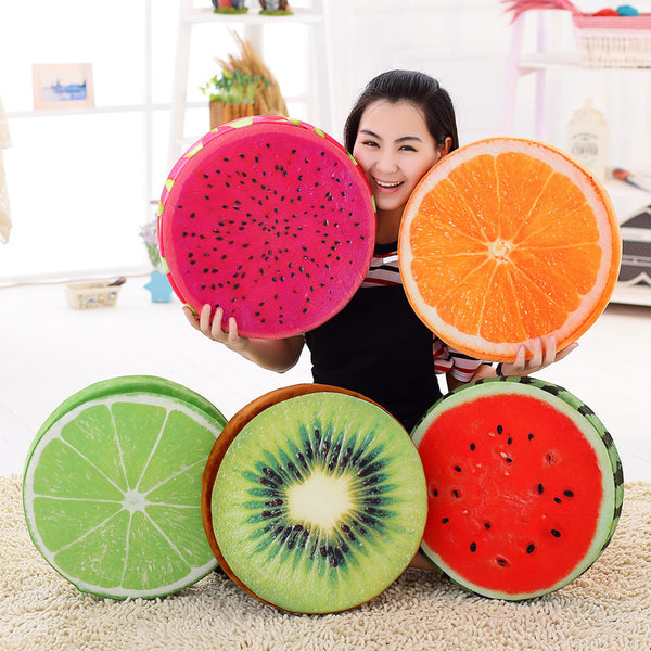 3D Cartoon Fruit Chair Seat Sofa Cushion Stuffed Back Throw Pillow