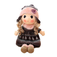 Stuffed Girls Doll Toy Beautiful Plush Dolls in Knit Skirts Flower Hat