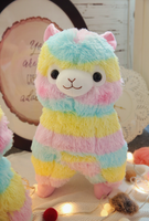 Rainbow Alpaca Plush Toy Colorful  Soft Llama Toy Animals Stuffed Doll