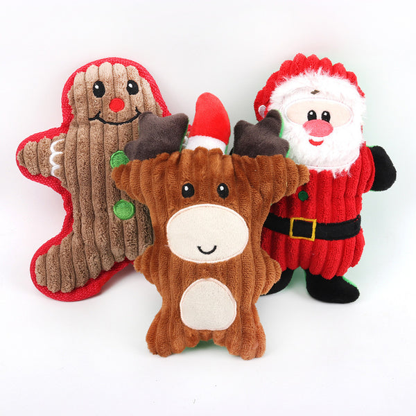 Christmas Pet Dog Toys Chew Squeaker Plush Cute Biting Rope Sound Toys