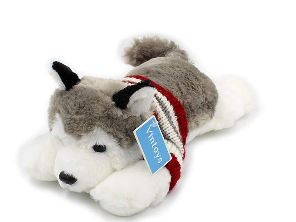 Soft Plush Toy Lying Siberian Husky Plush Puppy Stuffed Animals Dogs