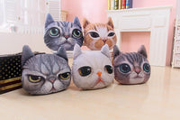 3D Plush Cat Head Shape Pillow Car Sofa Chair Back Cushion