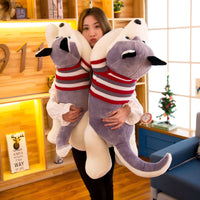 Big Size Cute Husky In Sweater Plush Toy Stuffed Dog Pillow Girls Gift