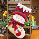 Soft Christmas Deer Ornaments Santa Claus Candy Bag Snowman Stockings