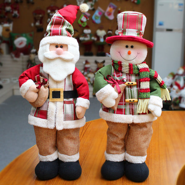 Lovely Christmas Snowman Santa Claus Plush Toys Decorations for Home