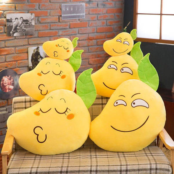 Soft Cartoon Plush Emoji Mango Toy Super Cute Stuffed Fruit Pillow