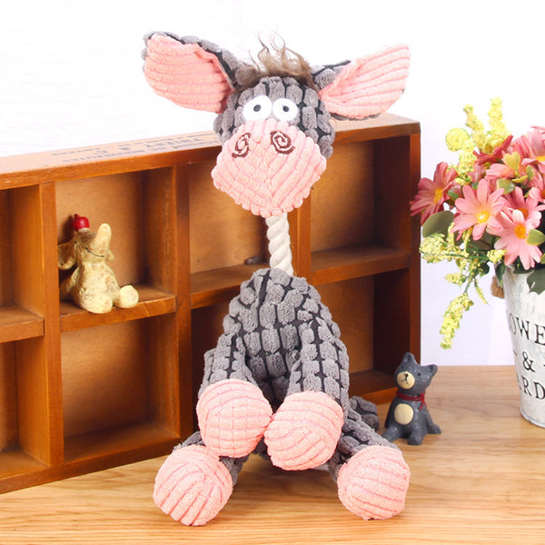 Cute Plush Pet Dog Donkey Toy Soft Cartoon Stuffed Sound Chew Doll