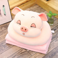 Stuffed Soft Cartoon Pig Pillow with Blanket Lovely Animal Plush Toy