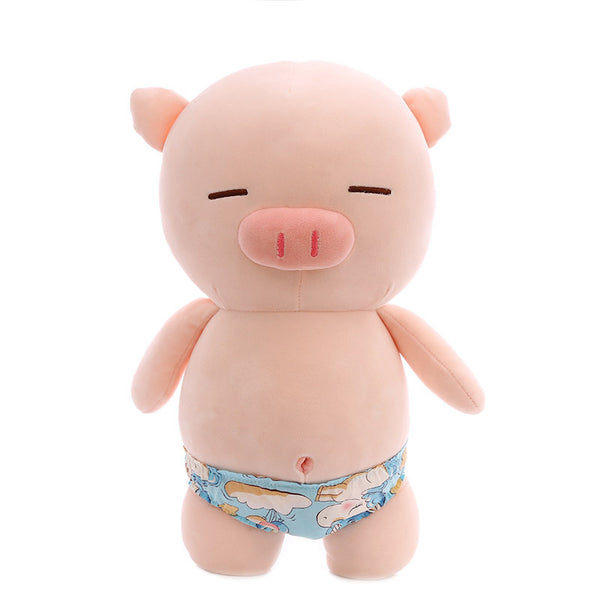 Pink Soft Plush Pig In Swimming Trunks Pillow Cute Stuffed Animal Toy