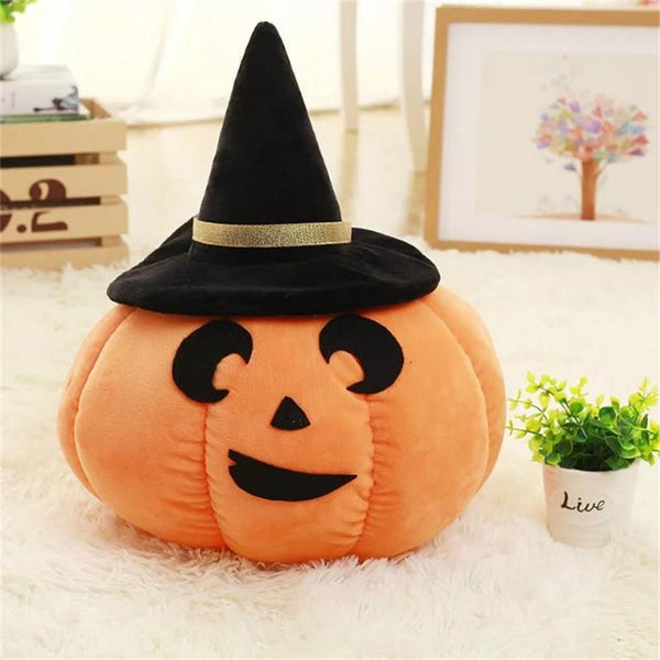 Stuffed Pumpkin Toy with Hat Fruit Pillow Halloween Pumpkin Plush Cushion