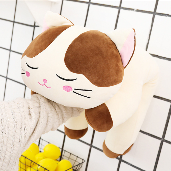 Cute Cartoon Cat Plush Toys Soft Stuffed Sleeping Cat Doll Pillow