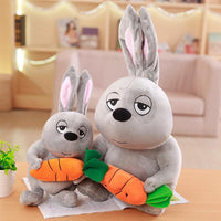 Grey Rabbit with Carrot Plush Toy Cute Soft Stuffed Bunny Animal Doll